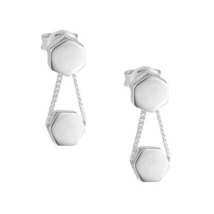 Krótkie, wiszące kolczyki z kolekcji Honey wykonane ze srebra próby 925.